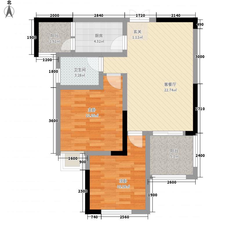 晋愉融府68.80㎡二期1号楼标准层F户型2室2厅1卫1厨
