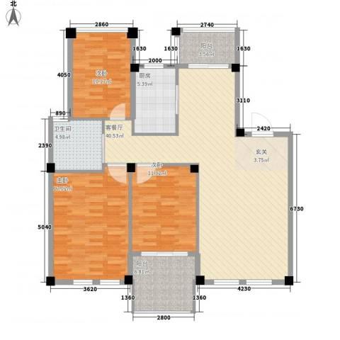 雷孟德星光中心3室1厅1卫1厨99.78㎡户型图