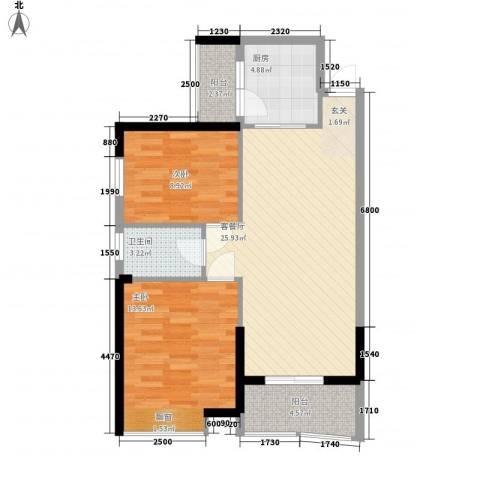 海天阳光花园2室1厅1卫1厨83.00㎡户型图