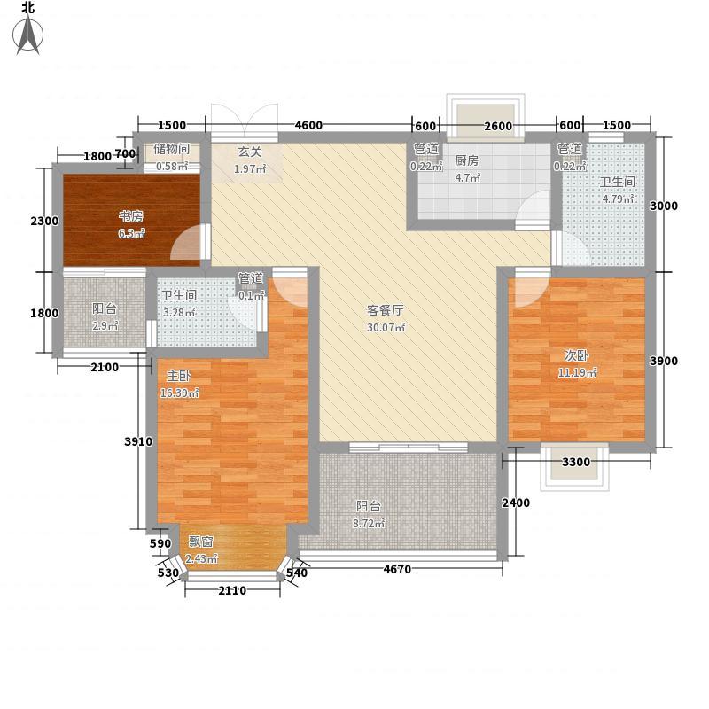 千城凤梧金沙116.83㎡E2心海居户型3室2厅2卫1厨