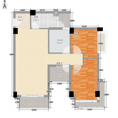招商花园城2室1厅1卫1厨82.00㎡户型图