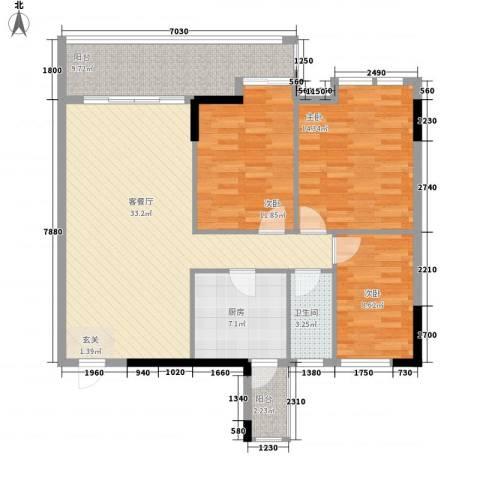 粤华苑3室1厅1卫1厨126.00㎡户型图