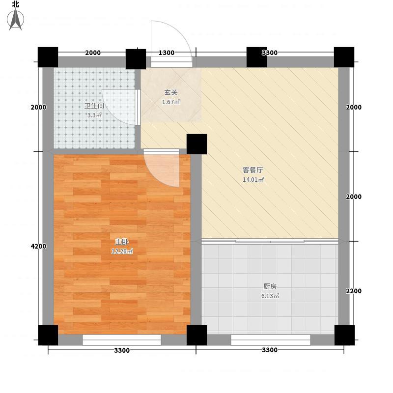 颐水嘉德47.10㎡标准层D户型1室1厅1卫1厨