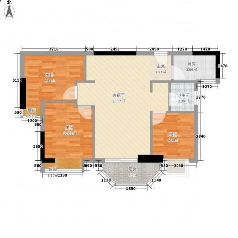 橄榄园3室1厅1卫1厨82.00㎡户型图