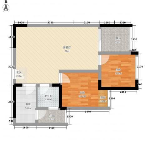 交警宿舍楼2室1厅1卫1厨84.00㎡户型图