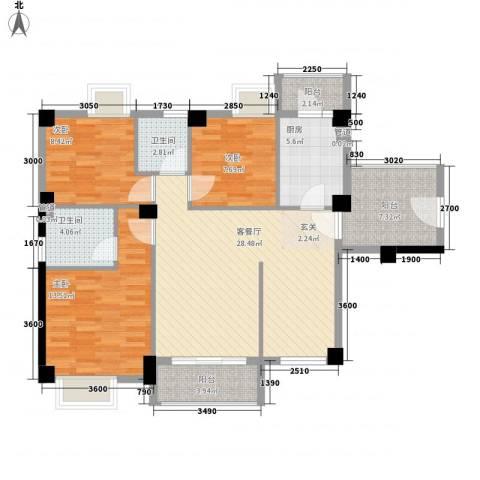招商花园城3室1厅2卫1厨113.00㎡户型图