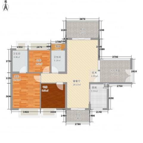 金叶公寓3室1厅2卫1厨91.68㎡户型图