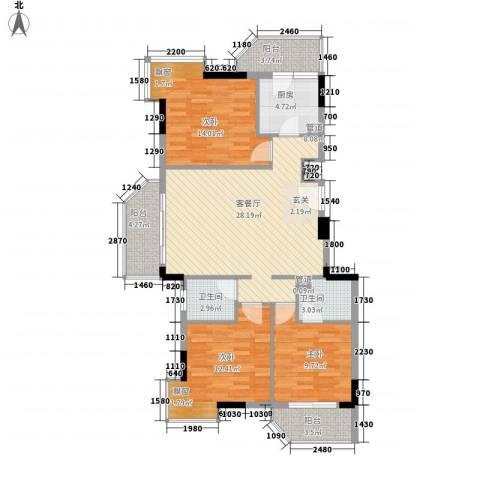 橄榄园3室1厅2卫1厨86.72㎡户型图