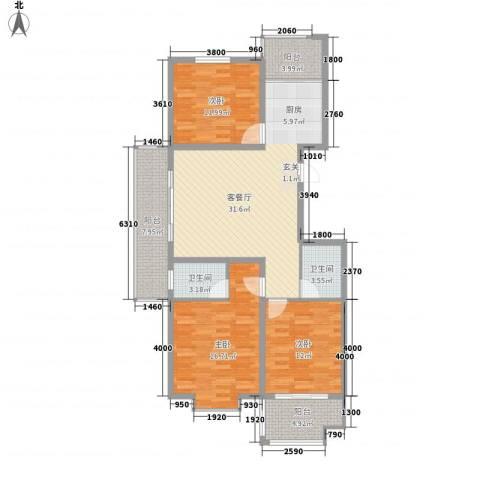 金邸山庄3室1厅2卫0厨136.00㎡户型图