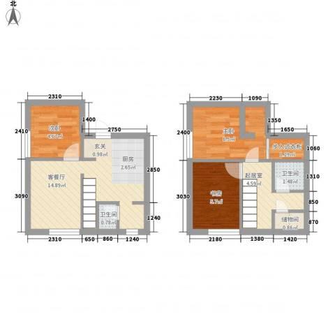 锦华银座3室1厅2卫0厨48.80㎡户型图