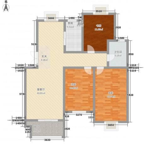 卧龙湾家园3室1厅1卫1厨104.11㎡户型图