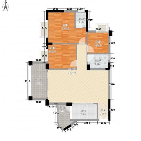 四洲城市经典3室1厅2卫1厨83.87㎡户型图
