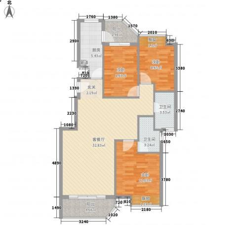 橄榄园3室1厅2卫1厨82.14㎡户型图