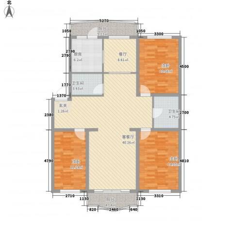 龙逸花园3室2厅2卫1厨138.00㎡户型图