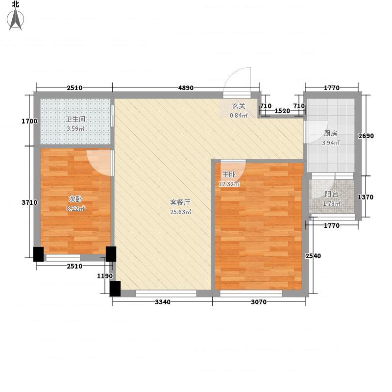 东方波尔多77.00㎡11、13#楼H12户型2室2厅1卫1厨