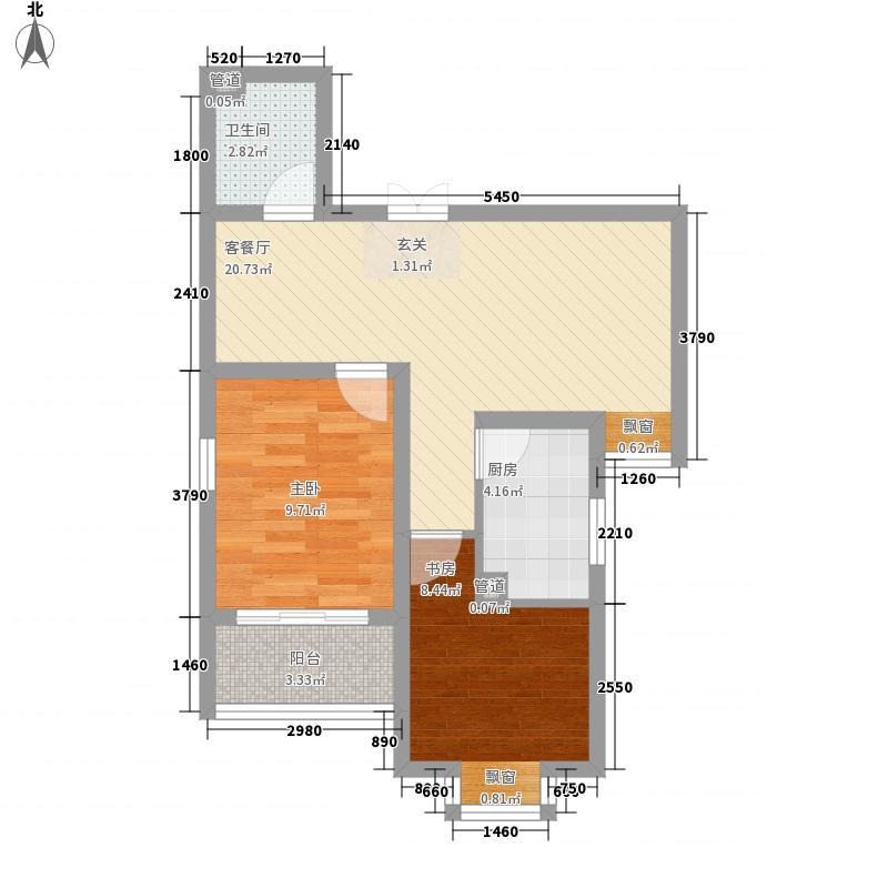 和信花园85.40㎡M户型2室2厅1卫1厨