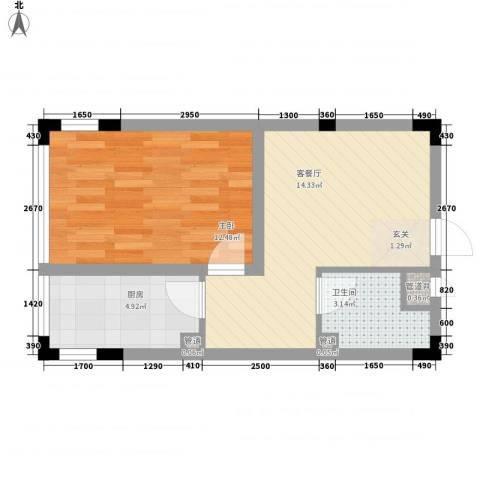 亿洲百旺郦城1室1厅1卫1厨51.00㎡户型图