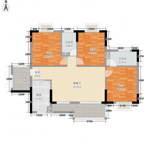 乐活小镇3室1厅2卫1厨139.00㎡户型图