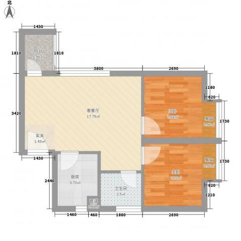 橄榄园2室1厅1卫1厨55.00㎡户型图