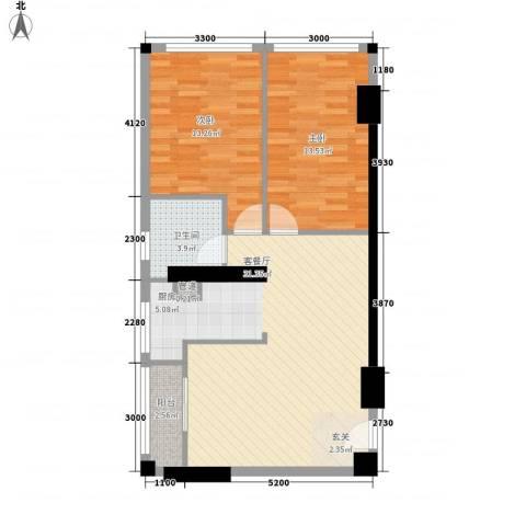 恒和主场2室1厅1卫0厨64.81㎡户型图