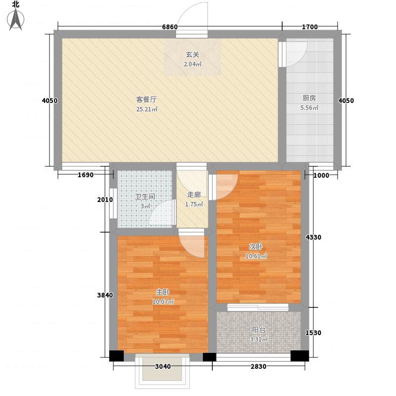青云润景88.50㎡E户型2室2厅1卫1厨