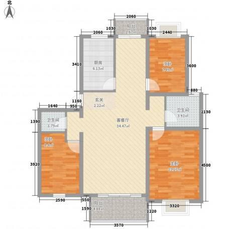 大华阳城花园3室1厅2卫1厨116.00㎡户型图