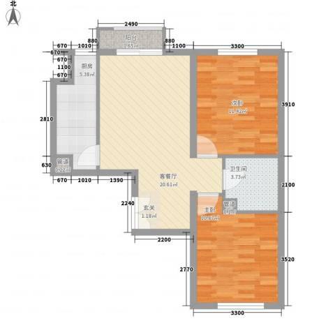 洛兹广场2室1厅1卫1厨77.00㎡户型图