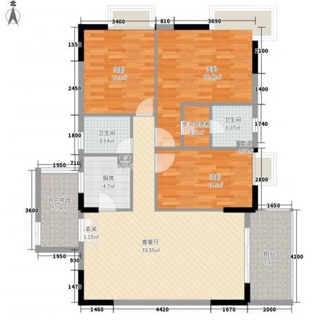 和庆楼3室1厅2卫1厨141.00㎡户型图