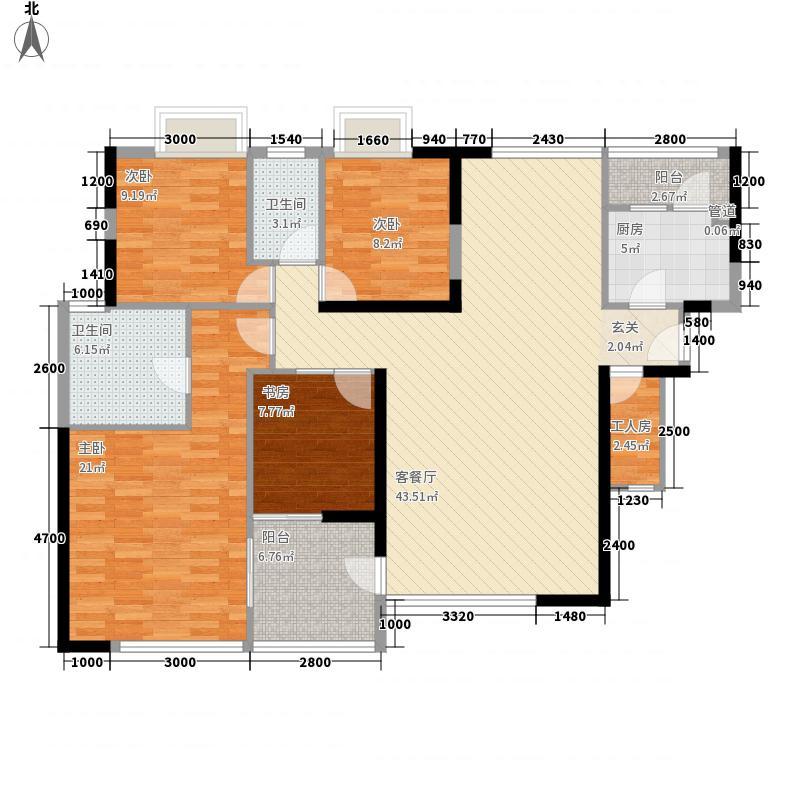 金地香蜜山151.00㎡户型4室