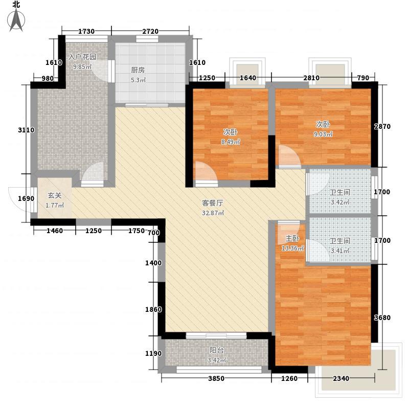 银鹭苑3-2-2-1-4户型3室2厅2卫1厨