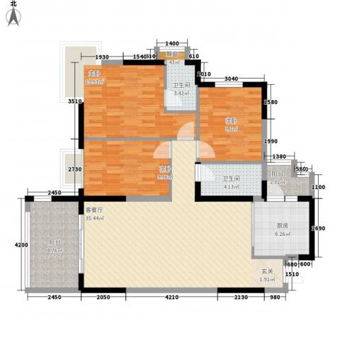 丽景华庭3室1厅2卫1厨133.00㎡户型图