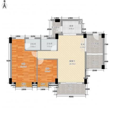 碧翠华庭2室1厅2卫1厨83.31㎡户型图