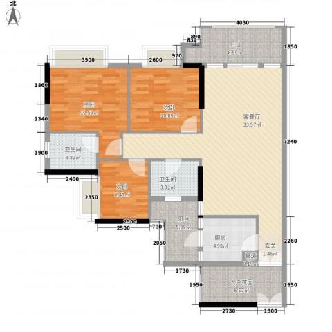 新世界东逸花园3室1厅2卫1厨134.00㎡户型图