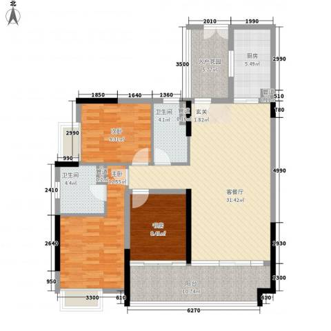 珠光御景湾3室1厅2卫1厨112.00㎡户型图
