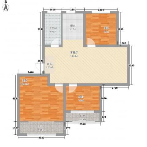 工人新村3室1厅1卫0厨115.00㎡户型图