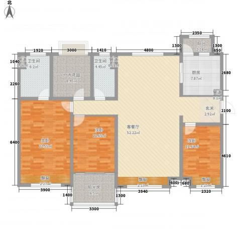 麦迪新村3室1厅2卫1厨135.29㎡户型图