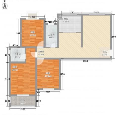 和信花园3室1厅2卫1厨135.00㎡户型图