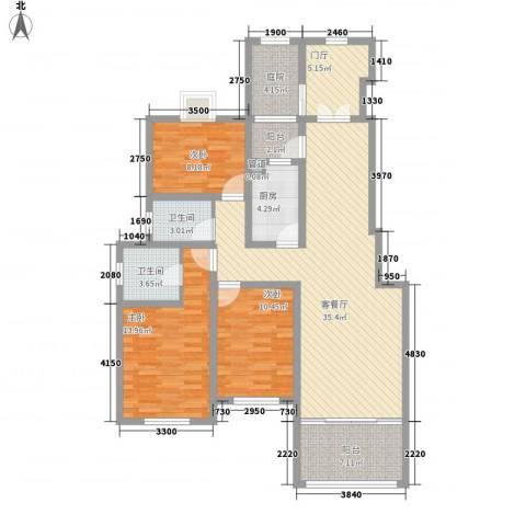 香梅假日花园三期3室1厅2卫1厨143.00㎡户型图