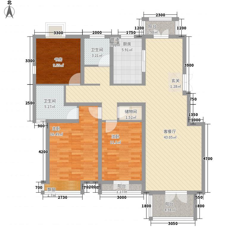 世纪新筑136.74㎡D1-A-1户型3室2厅2卫1厨