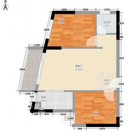 景茂国际2室1厅1卫1厨68.00㎡户型图
