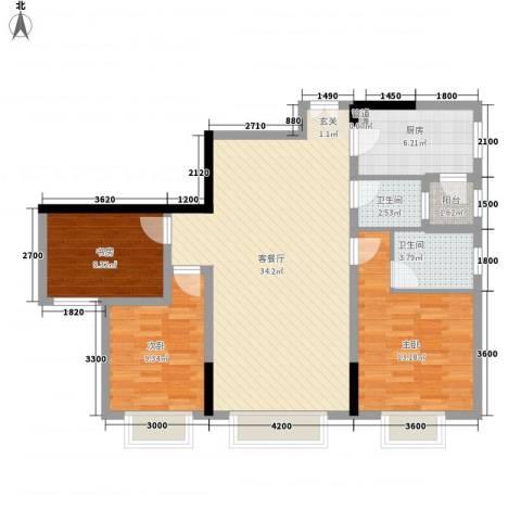 渝复新城丽都3室1厅2卫1厨79.27㎡户型图