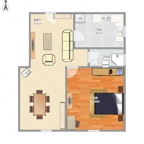 邻里苑-121-601室1厅1卫1厨75.00㎡户型图