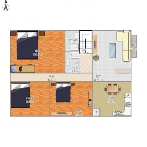 同德城3室1厅2卫1厨801.00㎡户型图