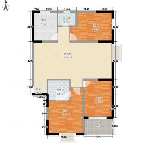 融馨苑3室1厅2卫1厨142.00㎡户型图