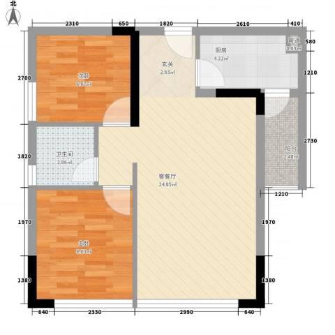 景茂国际2室1厅1卫1厨77.00㎡户型图