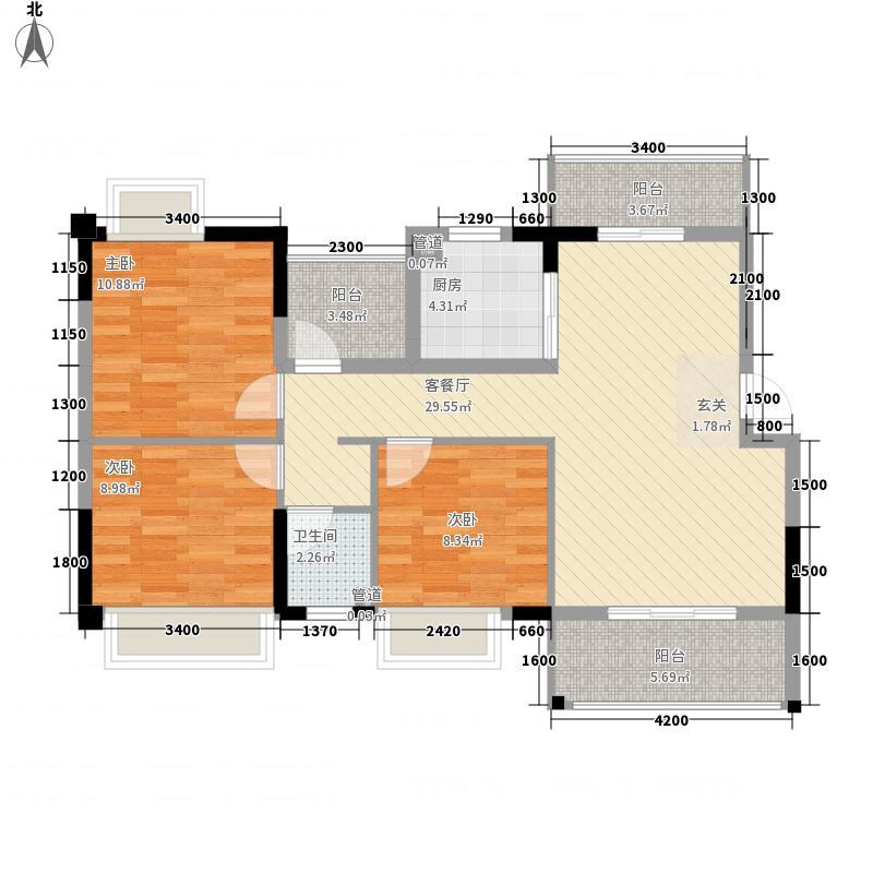 后溪花园3-2-1-1-3户型3室2厅1卫1厨