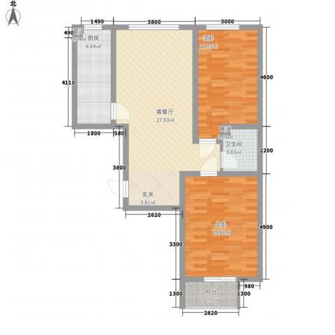 居美颐园2室1厅1卫1厨68.47㎡户型图
