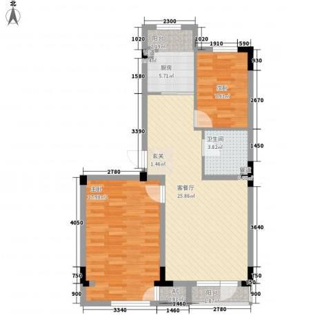 半山洋房2室1厅1卫1厨64.08㎡户型图
