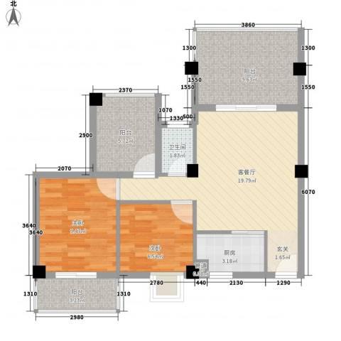 乐活小镇2室1厅1卫1厨87.00㎡户型图