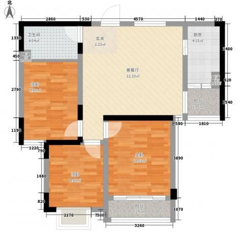 颐青园3室1厅1卫1厨64.18㎡户型图